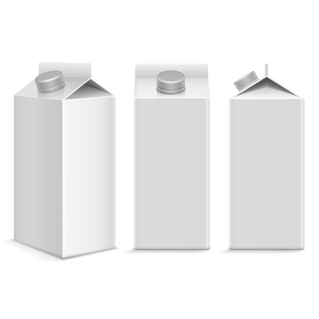 ミルク&ジュースホワイトカートンパッケージボックス Premiumベクター