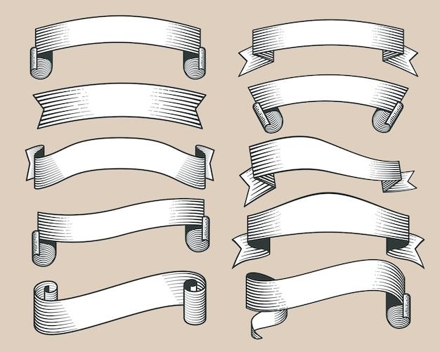 レトロリボンのバナーは、手描きのスタイルベクトルを描いた。スクロール、イラスト付きのリボンのコレクション Premiumベクター