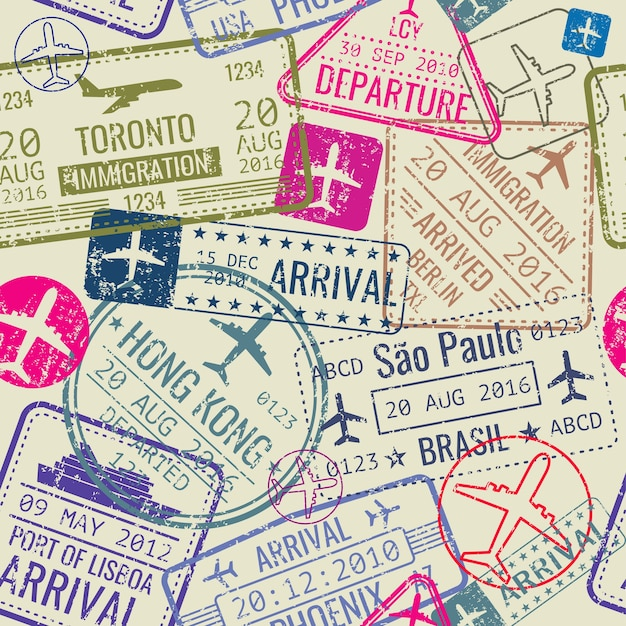 Векторный бесшовные модели с паспортными визами Premium векторы