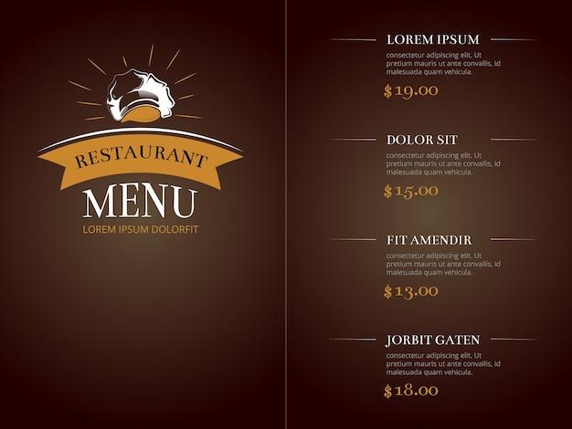 カフェレストランメニューのテンプレートアイデンティティベクターモックアップ Premiumベクター