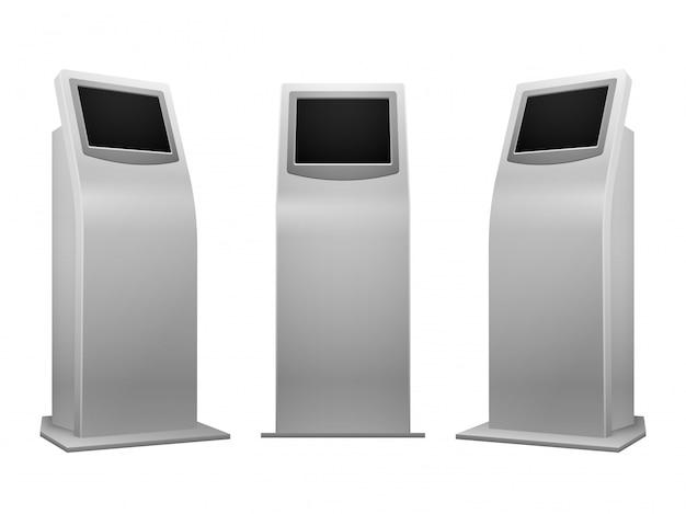 電子広告スタンドはインタラクティブなキオスクを表示する Premiumベクター