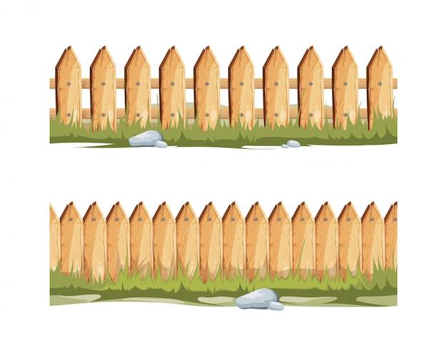 草と石の木製フェンス Premiumベクター