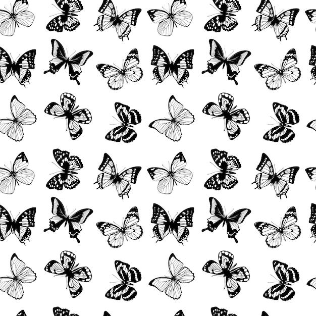 蝶とベクトルシームレスなパターン Premiumベクター