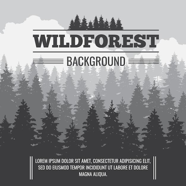 野生の針葉樹の松林ベクトル屋外の自然の背景 Premiumベクター