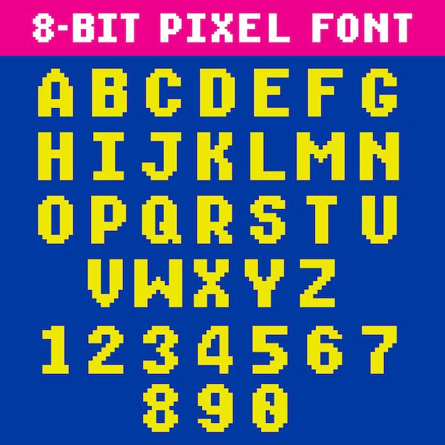 レトロビデオゲームのピクセルの文字と数字のフォント Premiumベクター