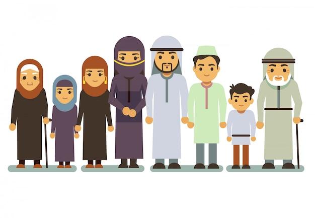 アラブの幸せな笑顔家族のベクトル文字 Premiumベクター