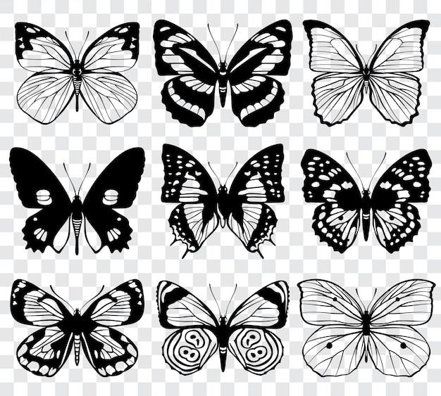 バタフライシルエットマクロコレクション。蝶のセット、黒いシルエットのイラスト Premiumベクター