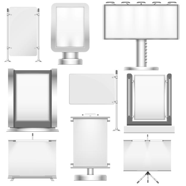 空白の白い貿易スタンドのディスプレイと広告宣伝とプラカードのプレゼンテーションのための看板 Premiumベクター