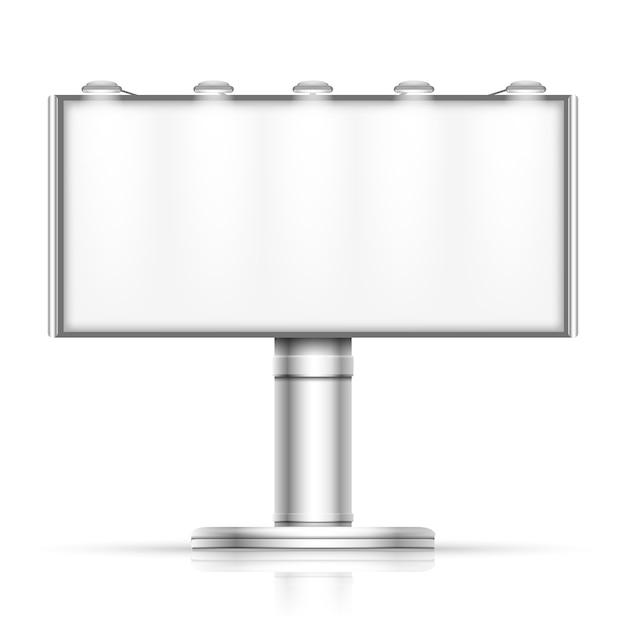 白いモックアップで隔離された屋外の空白の広告掲示板を宣伝する。プロモーションのためのストリートバナー Premiumベクター