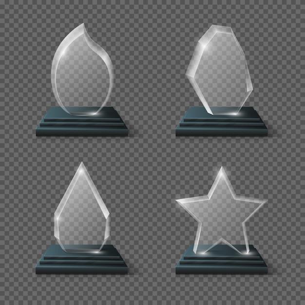 現実的な結晶トロフィー、ガラス賞が飾られています。ガラストロフィー透明プレート、ガラスパネル Premiumベクター