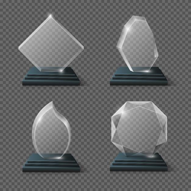 クリアグラス賞状証明書、ゴールチームクリスタルトロフィーストック。光沢のあるパネル賞 Premiumベクター