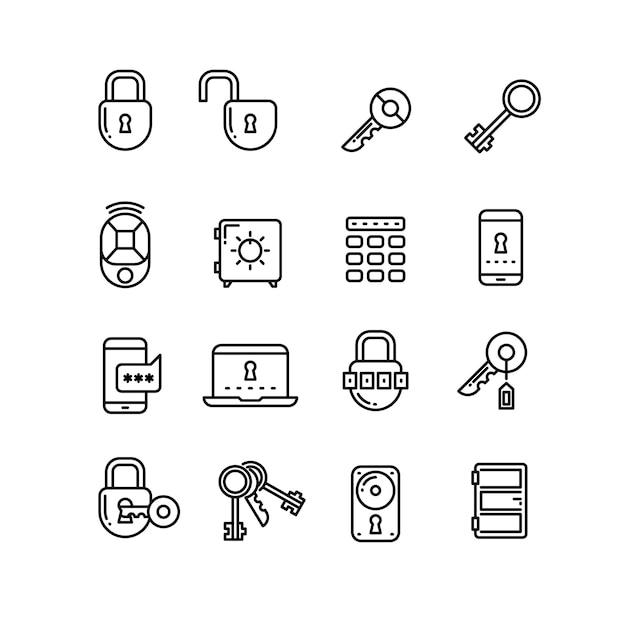 セキュリティ細線ベクトルアイコン Premiumベクター