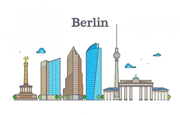 ベルリンのシルエットのスカイラインパノラマ、都市景観のベクトル図 Premiumベクター