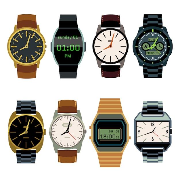 男の腕時計フラットベクトルセット Premiumベクター