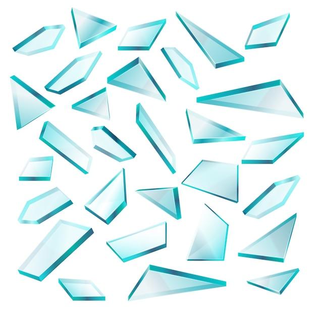 破損したガラス破片は、白いベクトルセットで고립 Premiumベクター