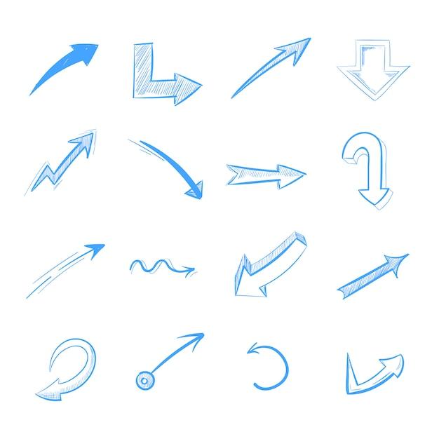 ペン描画矢印ベクトルセットは、白に隔離されて Premiumベクター