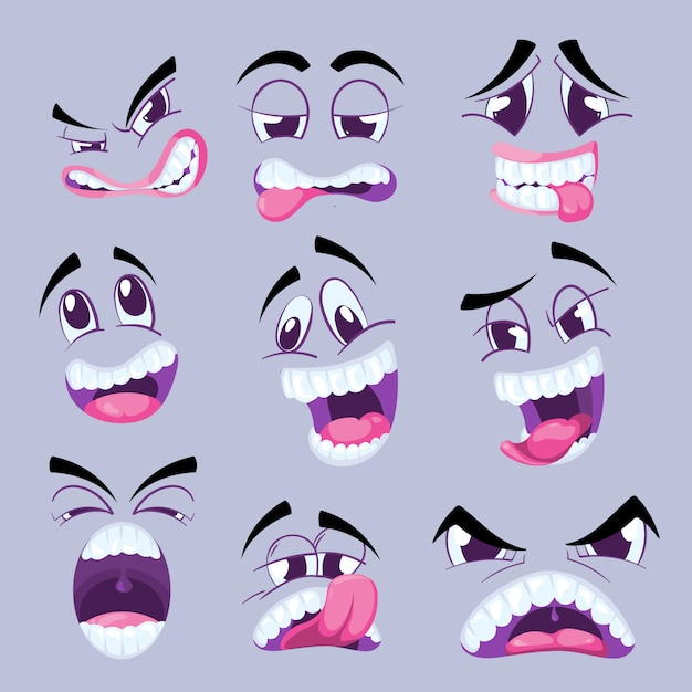 異なる表情の漫画面白い顔 Premiumベクター