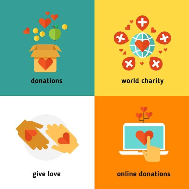 Благотворительность и пожертвование Premium векторы