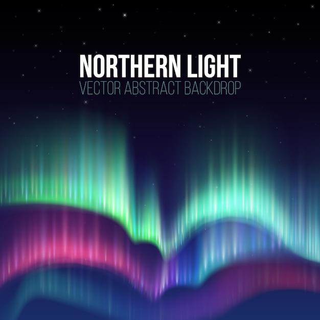 極光のベクトルの背景と冬の空 Premiumベクター