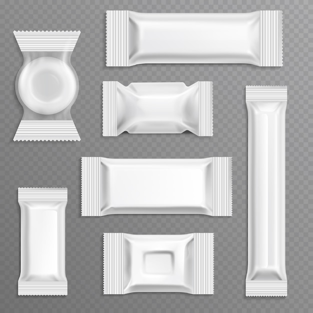 白い空のポリエチレンラッパー包装 Premiumベクター
