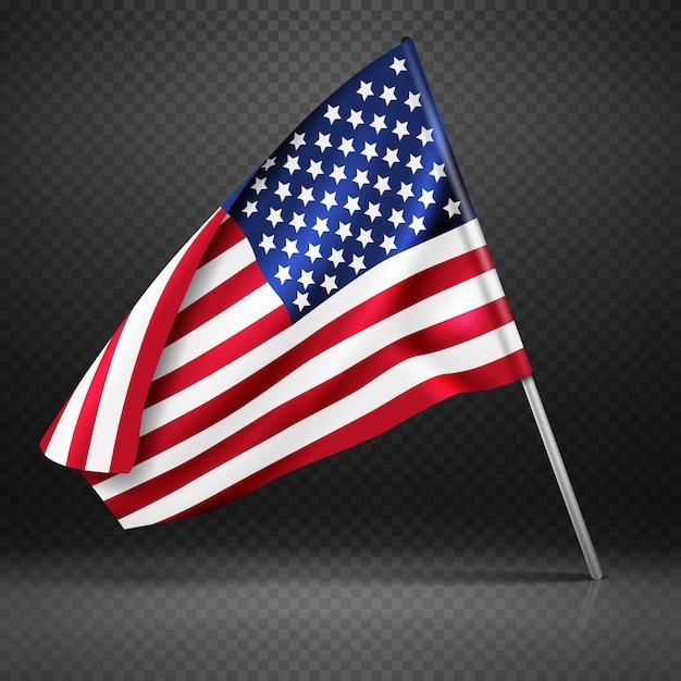 Американский баннер волнистой летающий флаг Premium векторы