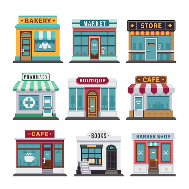 小売業の都市型店舗 Premiumベクター