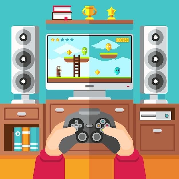 Подростковая игровая видеоигра Premium векторы