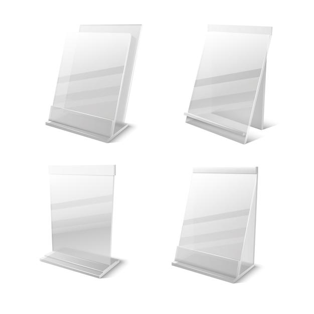ビジネス情報透明なプレキシガラスの空の所有者 Premiumベクター