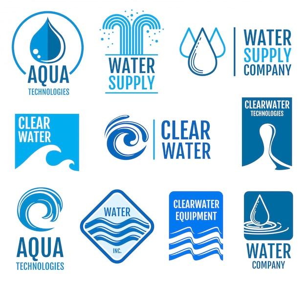 Пресная вода векторные логотипы Premium векторы