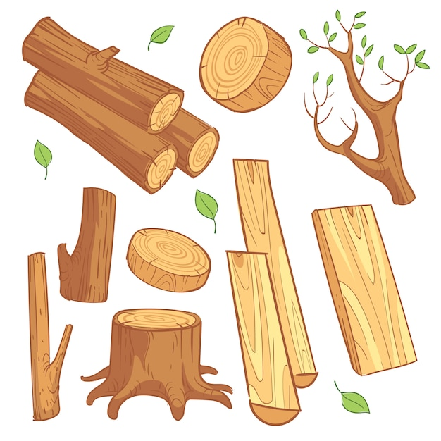 漫画の木製の材料 Premiumベクター
