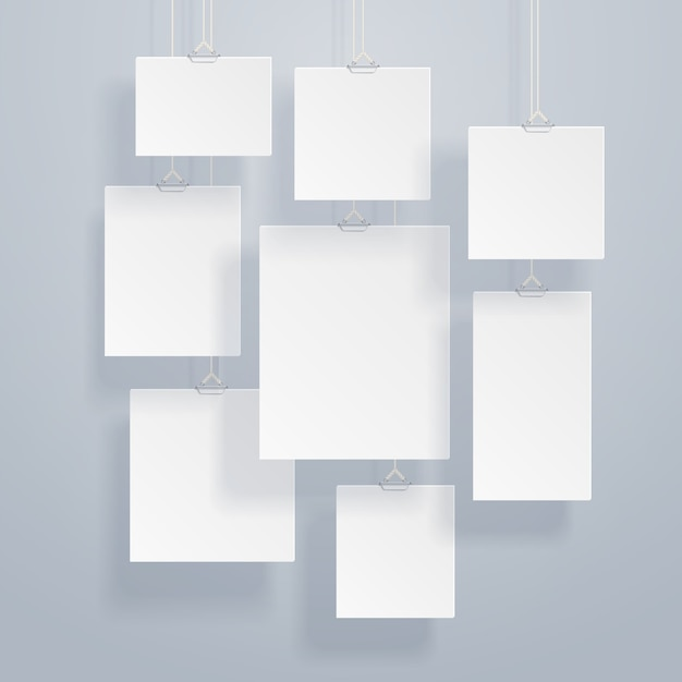空白の白い画像と写真の壁に壁のベクトル図 Premiumベクター