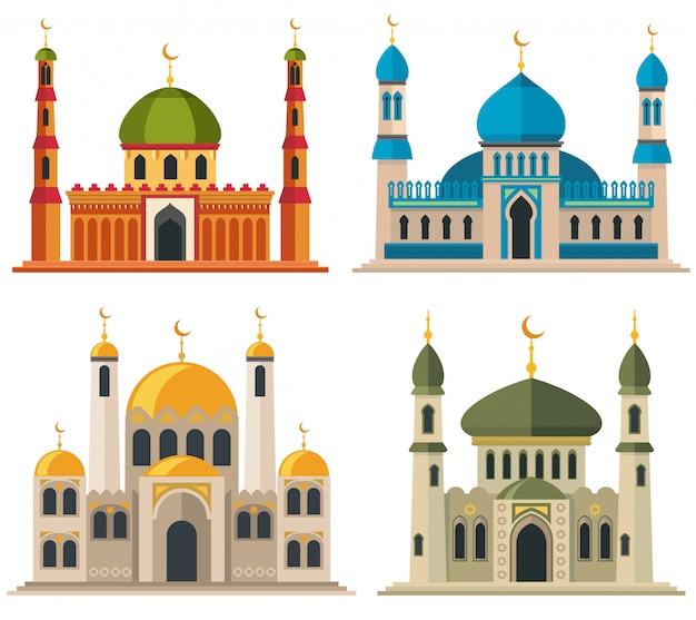 アラビアのイスラム教徒のモスクとミナレット。東部の宗教建築の漫画の建物。 Premiumベクター