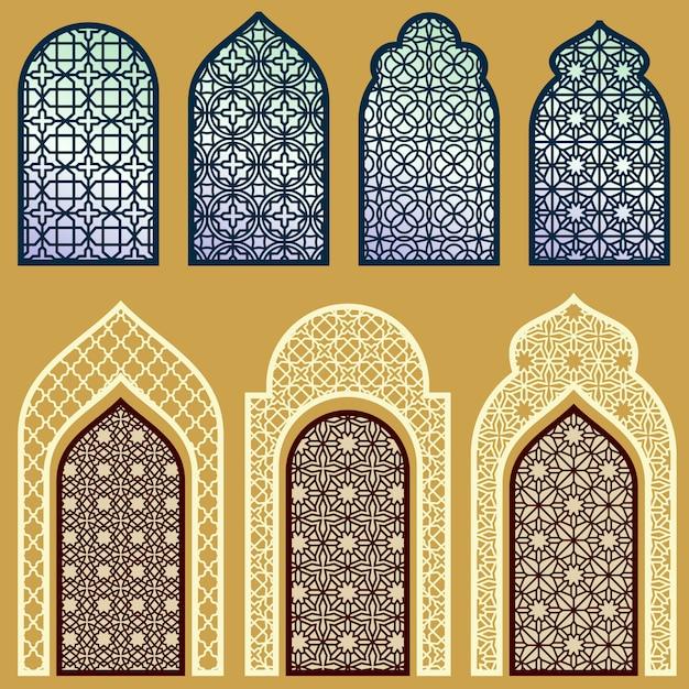 イスラムの窓とドア、アラビアンアート飾り模様 Premiumベクター