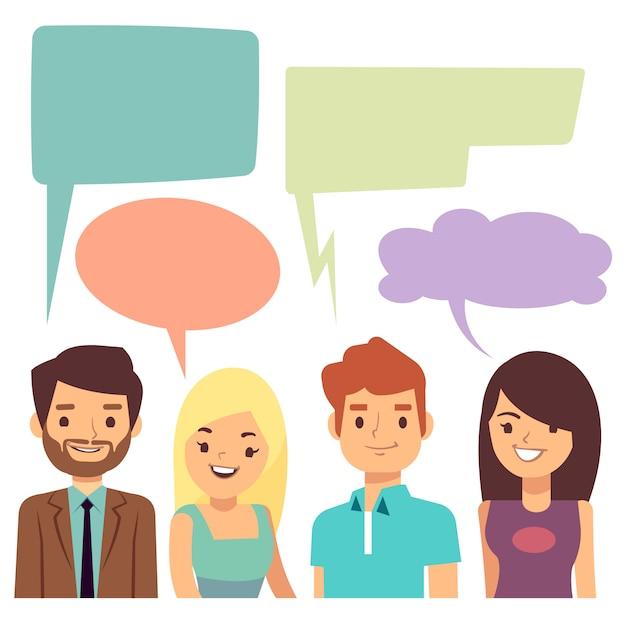 人と空白の思考の泡との会話の概念。 Premiumベクター