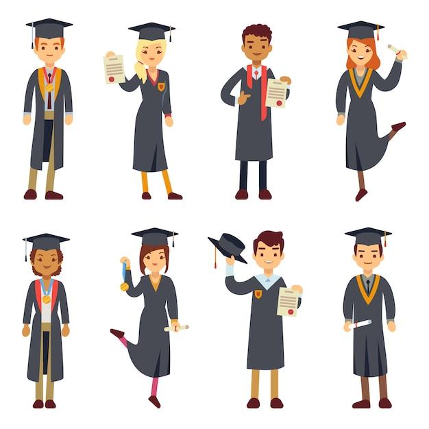 Набор символов молодой выпускник колледжа и студентов университета. Premium векторы