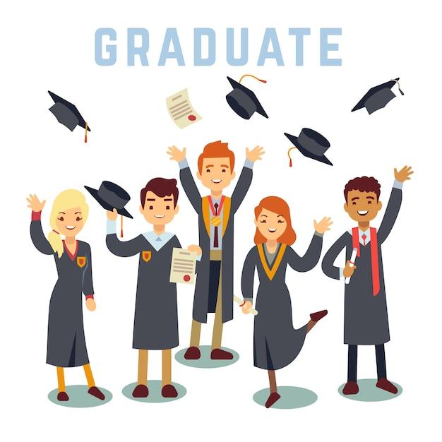 Университет молодых аспирантов. концепция градации и образования. Premium векторы
