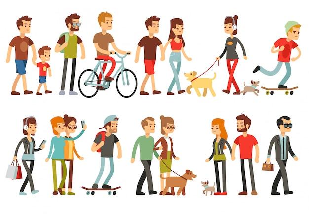 Женщины и мужчины в разных образах жизни. набор персонажей мультфильма Premium векторы