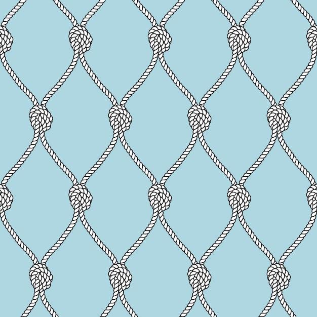 Морская веревка рыболовная сеть с узлами бесшовный фон. морская повторяющаяся текстура. Premium векторы