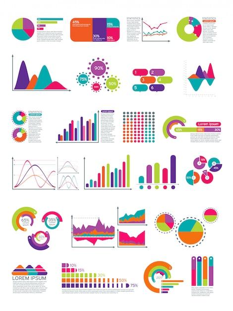 フローチャートとインフォグラフィックの要素。統計図ウェブサイトのレイアウトテンプレート Premiumベクター