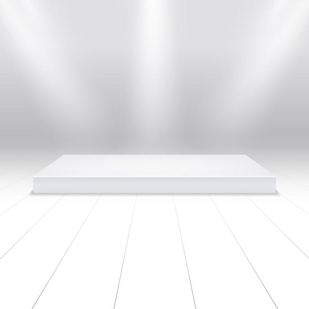 Пустой белый подиум для продуктов Premium векторы