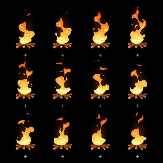 Мультяшный вектор костра пламени анимированные спрайты Premium векторы