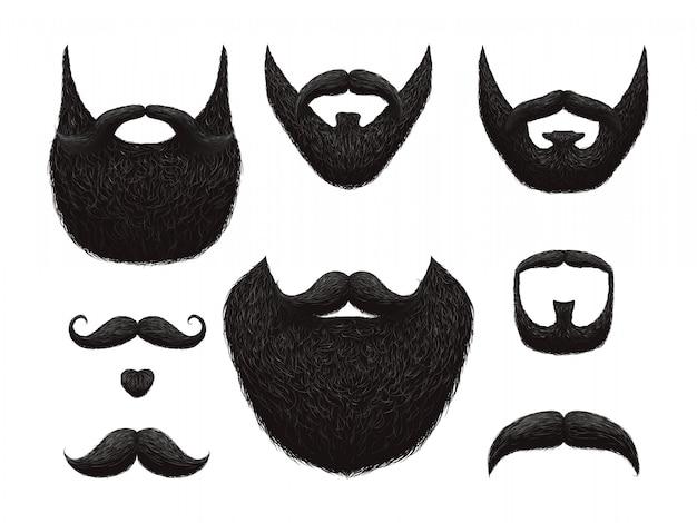 手描きのひげと口ひげのベクトルコレクション Premiumベクター