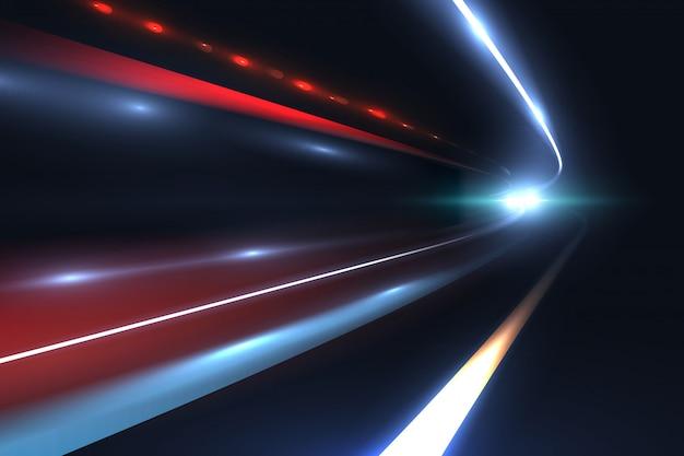 車のスピードライン長時間露光の抽象的なベクトルの背景の悲劇的な光の道 Premiumベクター