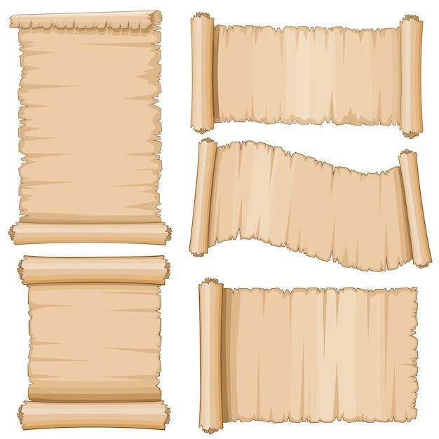 古代の羊皮紙ベクトルスクロール高齢者スクロール白紙 Premiumベクター