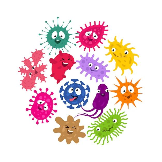 面白い細菌やウイルスの子供たちのベクトルの背景 Premiumベクター