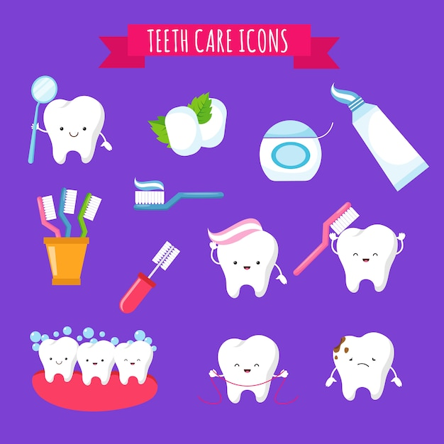 Чистка зубов и уход за зубами милый мультфильм иконки для детей. смешные зубы с зубной щеткой и зубными пастами Premium векторы