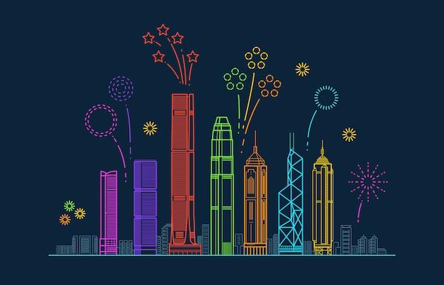 お祝い花火と香港市ベクトルパノラマ。建物と中国ラインの街並み Premiumベクター