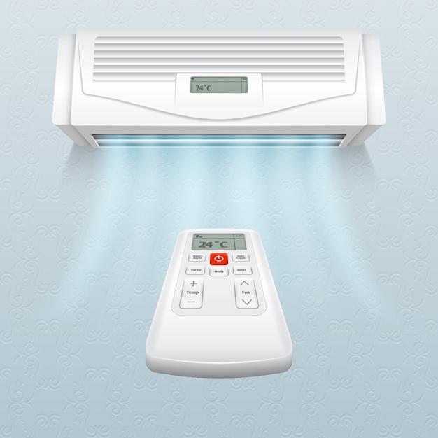 新鮮な空気の流れがあるエアコン。家庭やオフィスのベクトル図での気候制御 Premiumベクター