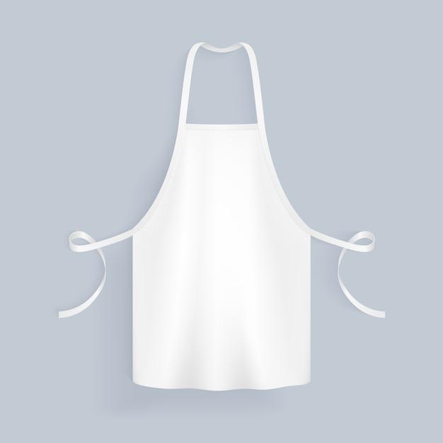 Белая пустая иллюстрация хлопка кухни изолировала иллюстрацию вектора. фартук защитный форменный для приготовления пищи Premium векторы