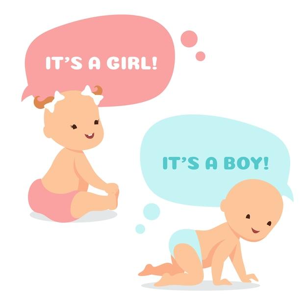 思考の泡と漫画の赤ちゃん。 Premiumベクター